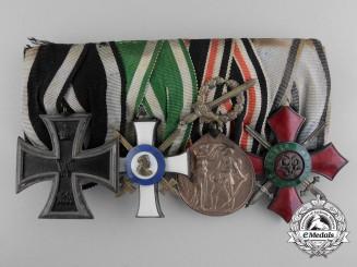 A First War Saxon Medal Bar with Bulgarian Merit Order