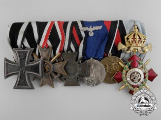 A Fine First & Second War Long Service Medal Bar with Bulgarian Military Merit Order
