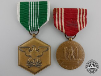 Two American Army Service Medals; Named