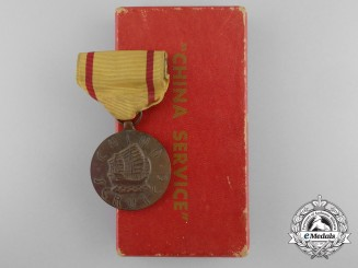 An American China Service Medal with Case of Issue
