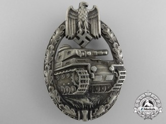 A Scarce Early Tank/Panzer Badge in Nickel-Silver by Juncker