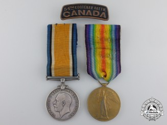 Canada. A First War Medal Pair to the 54th Canadian Infantry Battalion