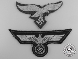Two German Breast Eagle Insignia; Army & Luftwaffe