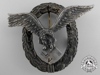 A Late War Luftwaffe Pilot & Observer Badge by Juncker