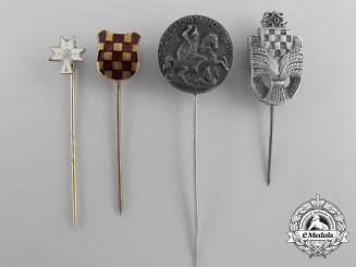 Four Second War Croatian Stickpins
