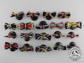 Nineteen German Ribbon Bars with Button Hole Attachments