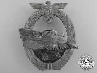A Kreigsmarine E-Boat Badge by Schwerin, Berlin; Second Version