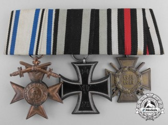 A First War Bavarian & Iron Cross Medal Bar; H.R.Wilm