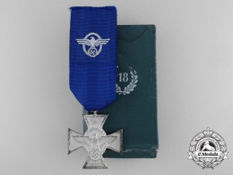 A German Police Service Cross; Second Class with Case of Issue