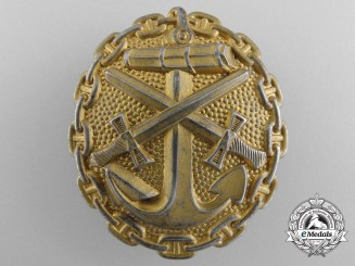 A First War German Naval Wound Badge; Gold Grade