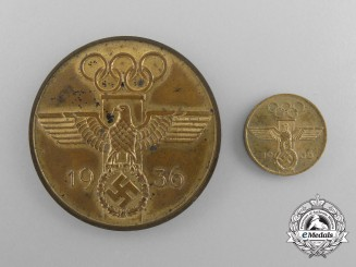An Unusual 1936 German Olympic Medal Prototype with Miniature