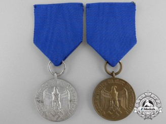 Two German Army Long Service Awards: Four & Twelve Year