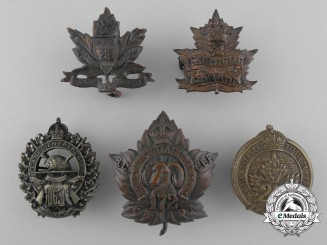 Five First War Canadian Collar Badges