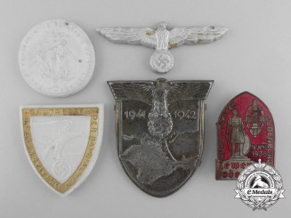 A Lot of Five German Badges, Insignia, and Awards