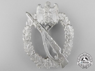 A Mint Infantry Assault Badge in Silver by B.H. Mayer, Pforzheim