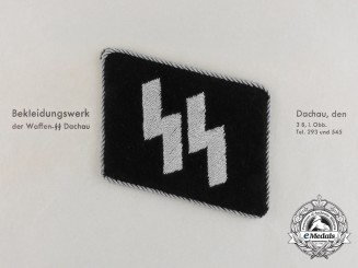 An Officer's SS Collar Tab and Dachau Clothing Work Factory Letter