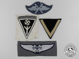 Four Second War German Cloth Insignia