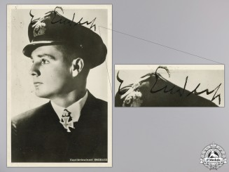 A War Time, c.1941 Signed Kreigsmarine Knight's Cross Winner Photo; Endrass