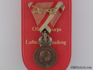 A Cased Austrian Military Merit Medal by Rothe; Air Force Engraved