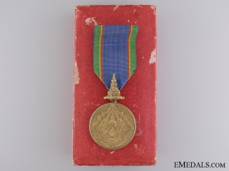 A Cased Thai Order of the Crown; Gold Grade Merit Medal