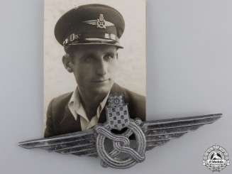 A Croatian Railway Protection Cap Badge with Photo