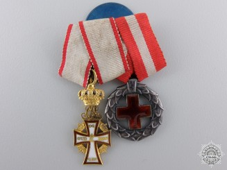 A Danish Order of Dannebrog in Gold Miniature Pair
