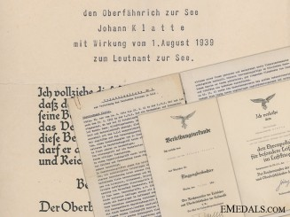 Germany, Heer. A DKG & Honor Goblet Document Group to Observer Johann Klatte