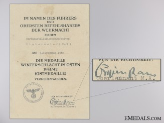 A Eastern Front Medal Document to Karl Wintermeier
