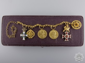 Austria, Empire. An Leopold Order Miniature Award Chain in Gold, with Case by V. Mayer
