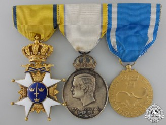 A Fine Swedish Order of the Sword Medal Bar