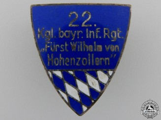 A First War 22nd Bavarian Infantry Regiment Badge
