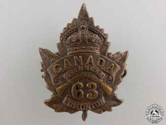 A First War 63rd Canadian Battalion Cap Badge