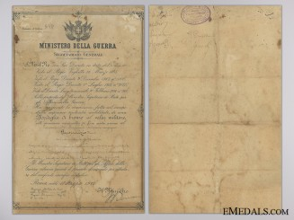 A First War Al Valore Militarie Award Document