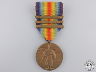 A First War American Victory Medal; Three Bars
