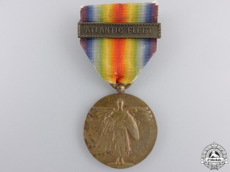 A First War American Victory Medal; Atlantic Fleet Bar & Named