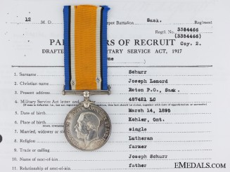 A First War British War Medal to the Saskatchewan Regiment
