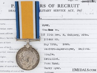 A First War British War Medal to the Alberta Rifles CEF