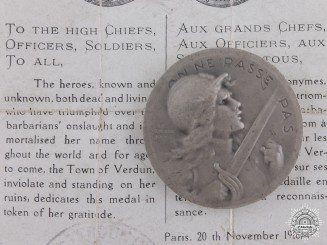 A First War French Verdun Medal with Document; 1916