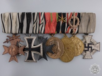 A First War German Medal Bar with Seven Awards