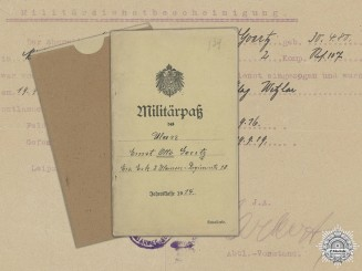 A WWI Militärpaß to the 107th Reserve Infantry Regiment; Captured