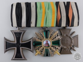 A First War German Order of  the Zahringen Lion Medal Bar