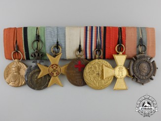 A First War Serbian Medal Bar of Seven