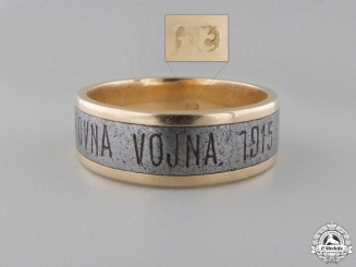 A First War Slovenian Gold & Iron Ring;