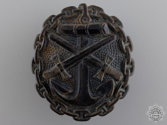 A German Imperial Naval Wound Badge; Black Grade
