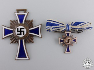 A German Mother's Cross; Bronze Grade with Miniature