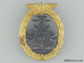 A Mint High Seas Fleet Badge by Adolf Bock Ausf. Schwerin