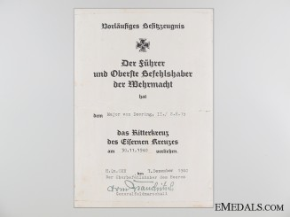 A Knight's Cross Preliminary Award Document to Major von Doering