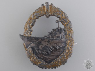 A Kreigsmarine Naval Destroyer War Badge by Schwerin