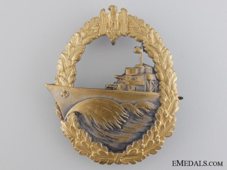 A Kriegsmarine Destroyer War Badge by Wilhelm Deumer
