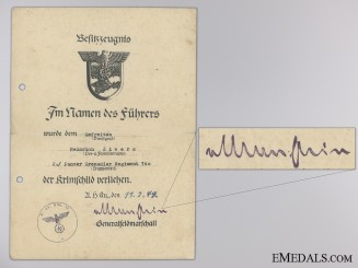 A Krim Shield Award Document to the 140th Panzer Grenadier Reg.
